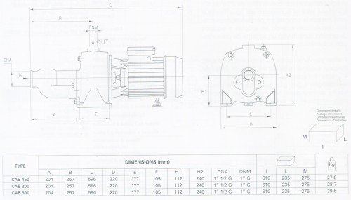 Thông số chi tiết sản phẩm máy bơm nước Pentax CAB 200