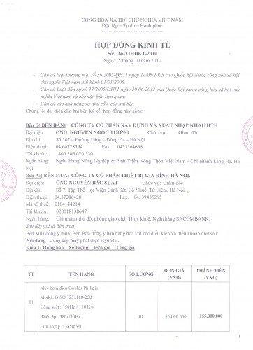 Hợp đồng ký kết cung cấp hệ thống bơm Pentax nhập khẩu Italy