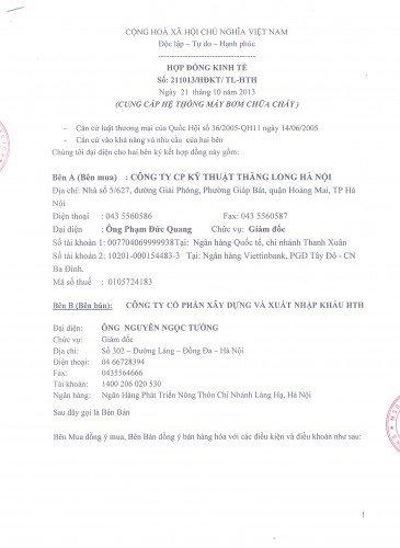 Hợp đồng đã được ký kết với công ty Thăng Long