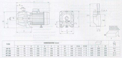 Thông số chi tiết của máy bơm Pentax tốt nhất AP 75